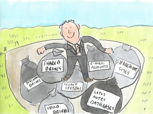 Cartoon of a data landfill